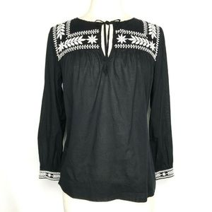 J Crew Embroidered Cotton Voile Top Black Size XS